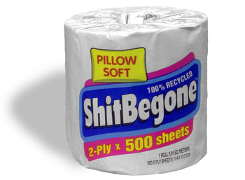 A roll of ShitBeGone toilet paper