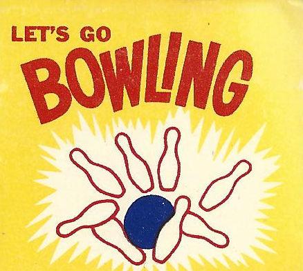 Let's go bowling matchbook graphics