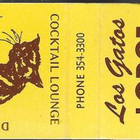 Old Los Gatos Lodge matchbook with alley cat logo