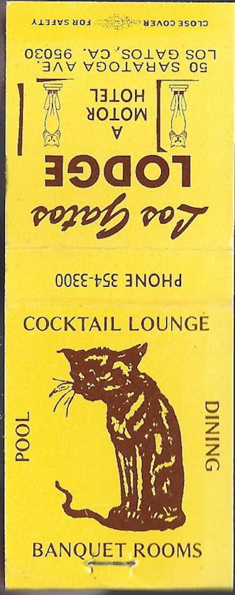Old Los Gatos Lodge matchbook, the one with the alley cat logo
