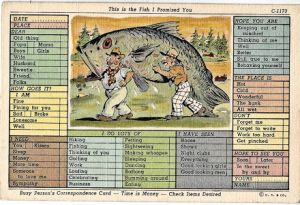 Big Fish cartoon postcard, checkbox style