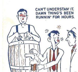 cartoon drink in barrel dispensing not beer