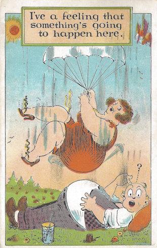 1930's humor postcard involving rotund people.