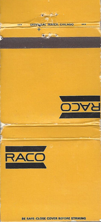 RACO electrical goods matchbook. If you know them, you know them.