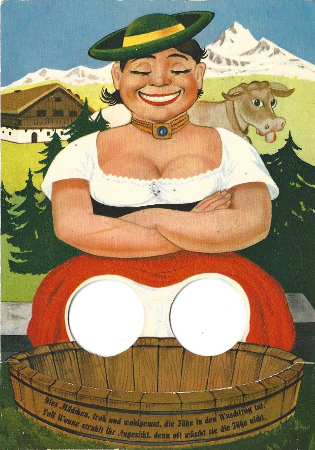 Oktoberfest milkmaid and cow postcard