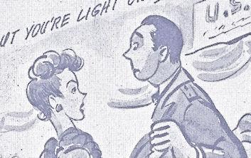 Clumsy USO dancing. WWII cartoon postcard