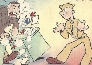 Catoon WWII postcard, GI wants a raise on his first day of duty in the Army