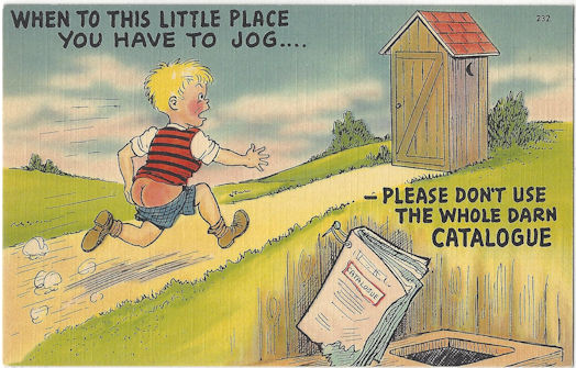 Old postcard featuring a boy running to the outhouse