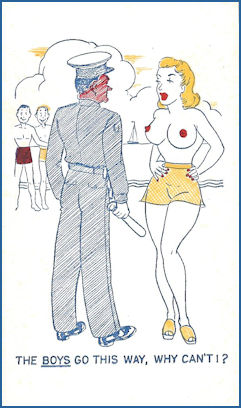 Comic Card of the 50's; topless woman at beach doesn't see why she can't