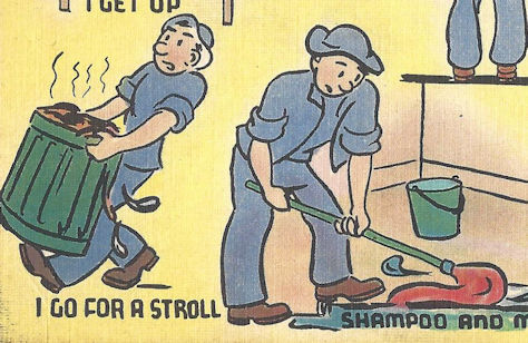 Surviving boot camp with a rich imagination. WWII cartoon postcard