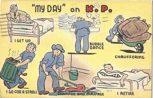WWII cartoon postcard, My day on KP