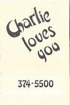 Charlie Loves You matchbook interior