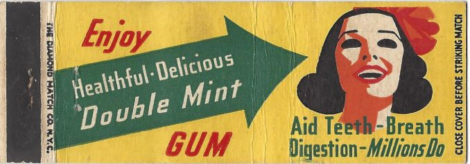 Double Mint chewing gum matchbook cover.