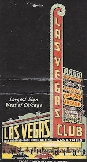 "Matchbook from the ""Las Vegas Club"""