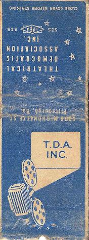 Theatrical Democratic Association matchbook