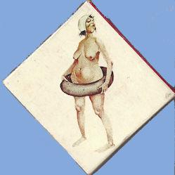 40's woman with inner tube enjoying nude beach- Matchbook salesman's sample.