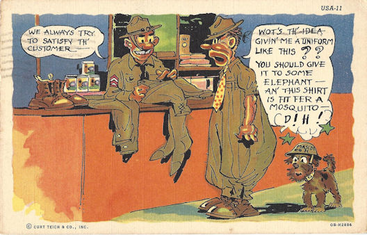 Poor fitting uniform issue WWII cartoon postcard