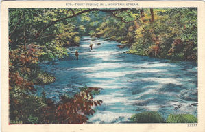 Old postcard; trout fishing