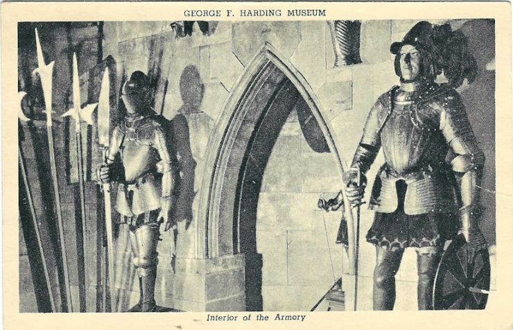 Man in suit of armor at the Harding museum