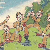 WWII cartoon postcard, parachuting in