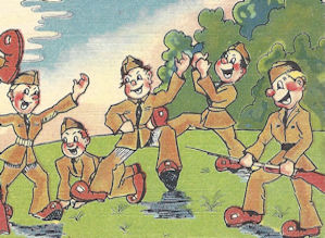 WWII cartoon postcard, parachuting in