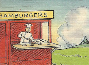 WWII tiny hamburger stand cartoon postcard