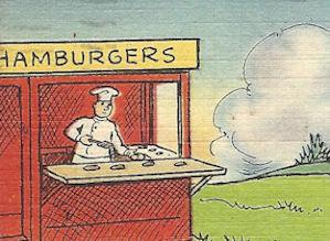 WWII tiny hamburger stand cartoon postcard