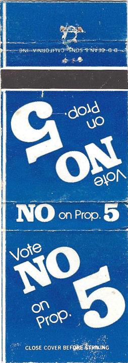 Proposition Five vote no matchbook