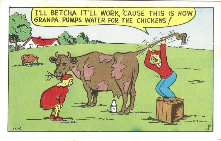 Comic postcard featuring stupid kids from the city trying to milk a cow.