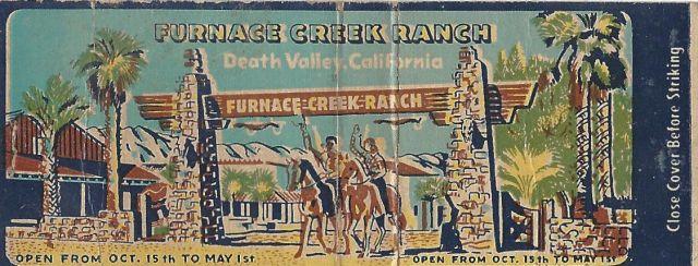 Furnace Creek Ranch matchbook cover