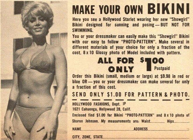 Send for a Hollywood bikini pattern, 1962 ad