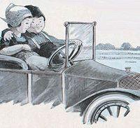 Motorists in love postcard