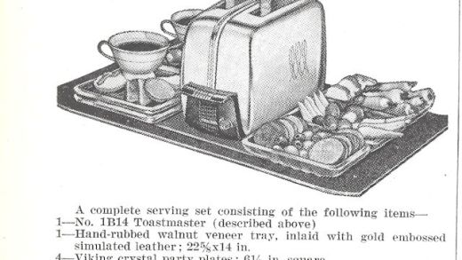Serving tray with toaster