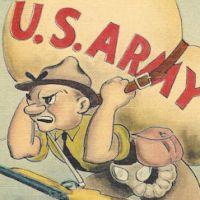WWII Army cartoon postcard. Mechanized Army