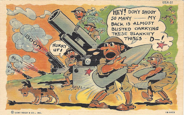 WWII comic postcard, don't shoot so many; my back hurts.