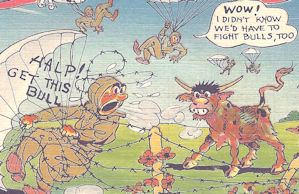 WWII comic postcard, the skydiver and the bull