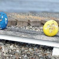 Whimsical M&M mascot rocks