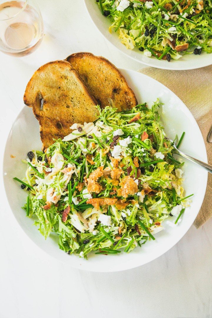 Warm Chicken and Frisée Salad with Bacon Fat Vinaigrette and