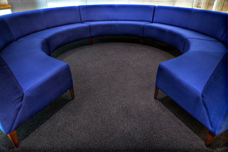 Circular blue couch