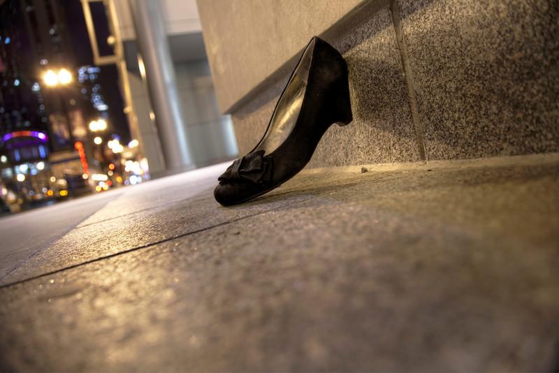 A black slipper at midnight