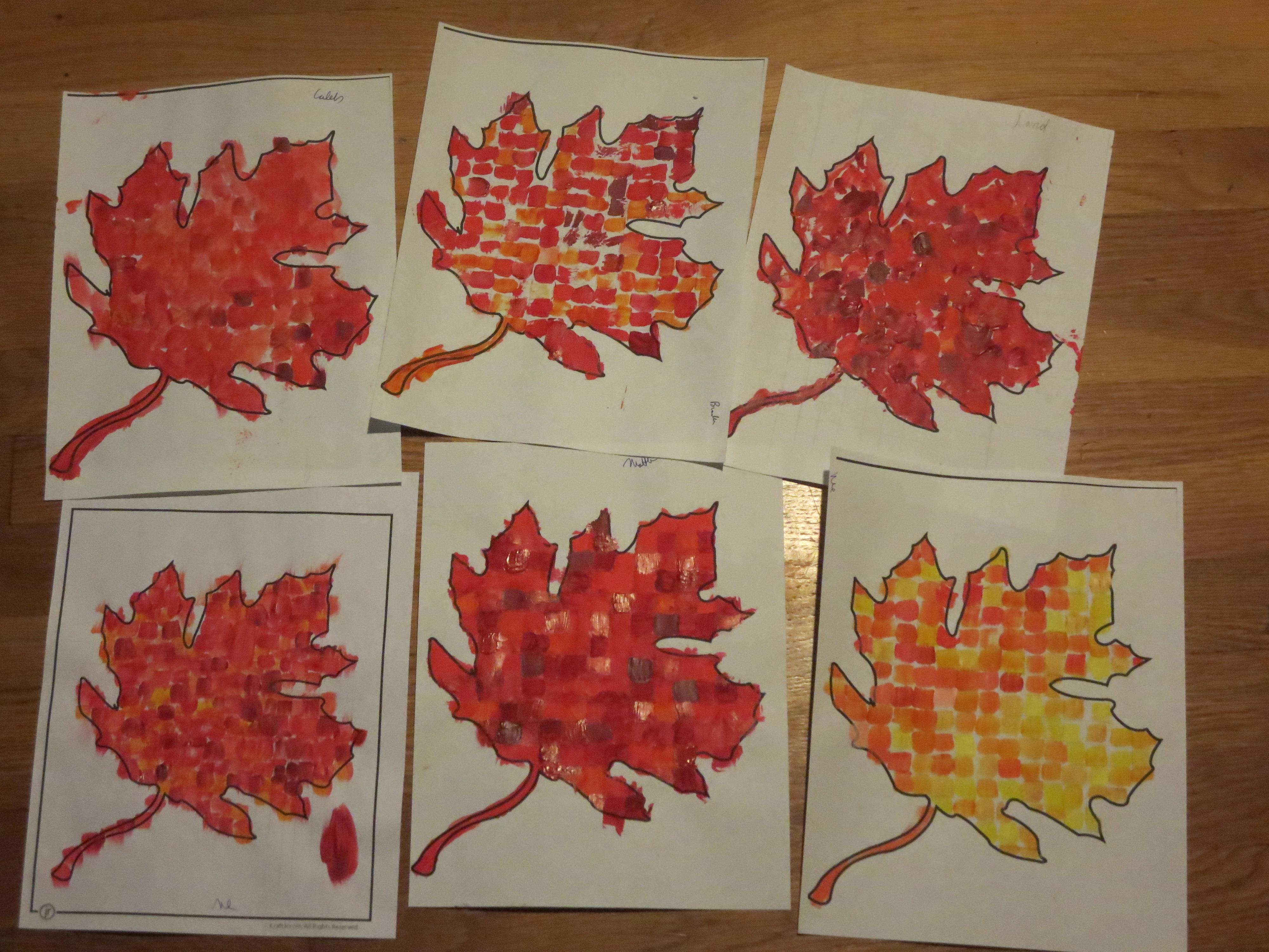 Monochromatic Leaf Mosaic Art Project