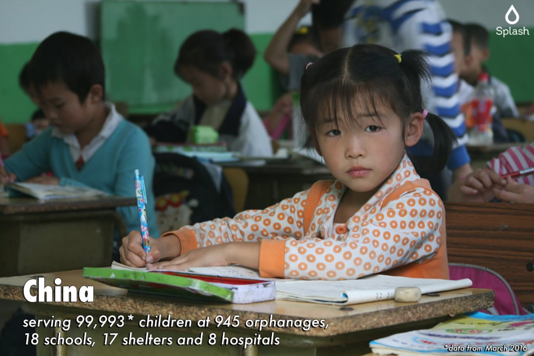 Splash serving 99,993 children at 945 orphanages, 18 schools, 17 shelters and 8 hospitals in China