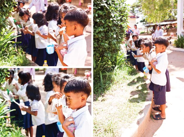 Children brushing their teeth at Wat Chork School