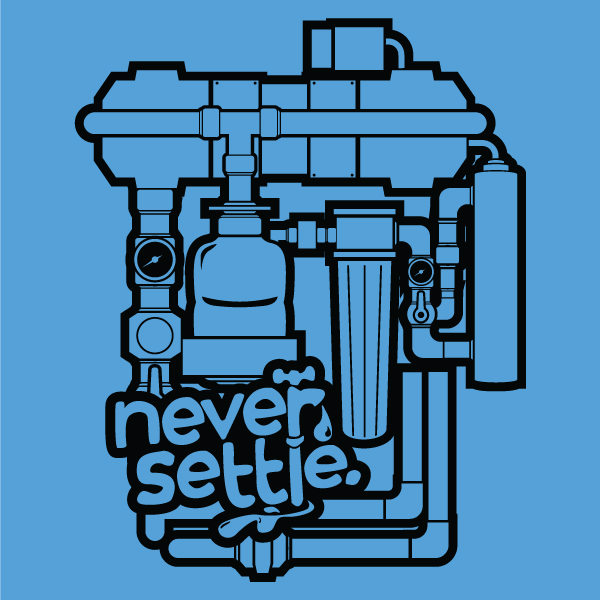 Water Machine Tee on blue background