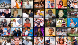 Mosaic of the faces involved in Never Settle programs