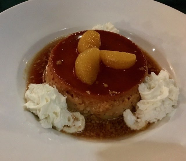 flan-dessert-at-susannas | Never to Old to Travel | Gary House
