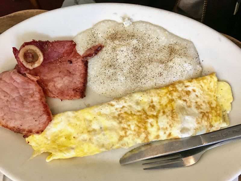 Ham steak, omlete and grits | nevertooldtotravel.com | Gary House