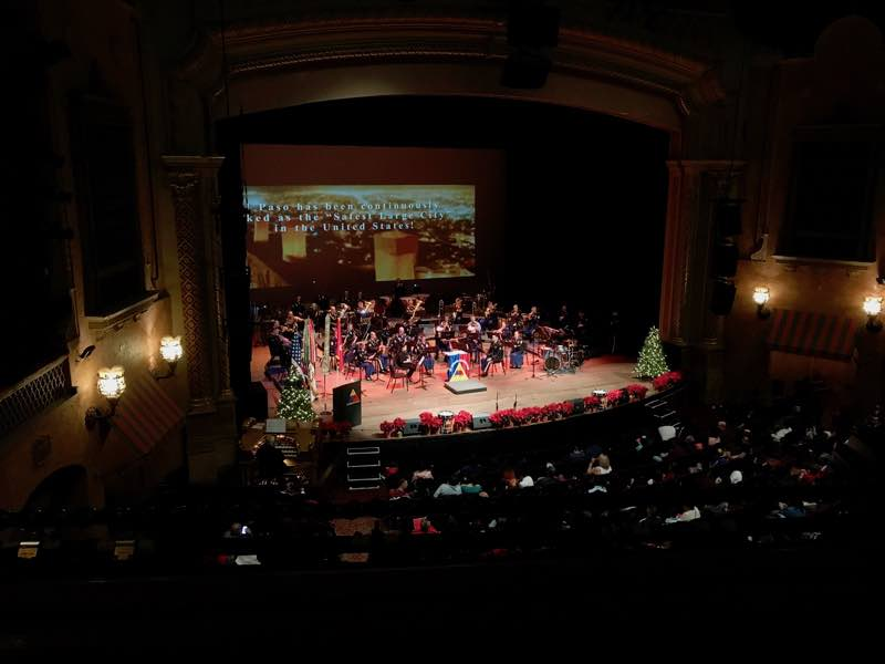 First Armored Division Band playing at the Plaza Theatre during Winterfest in El Paso | Nevertooldtotravel.com | Gary House