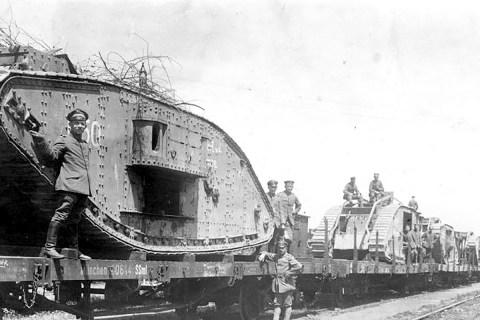German train British tanks