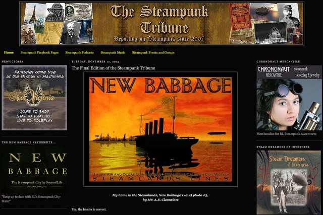 The Steampunk Tribune website